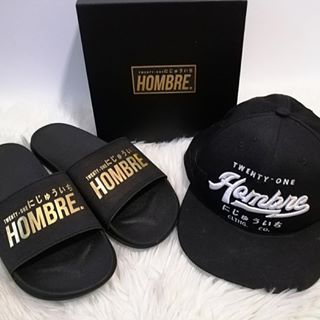 Hombre21 Slideres or Slipers and snapback black cap