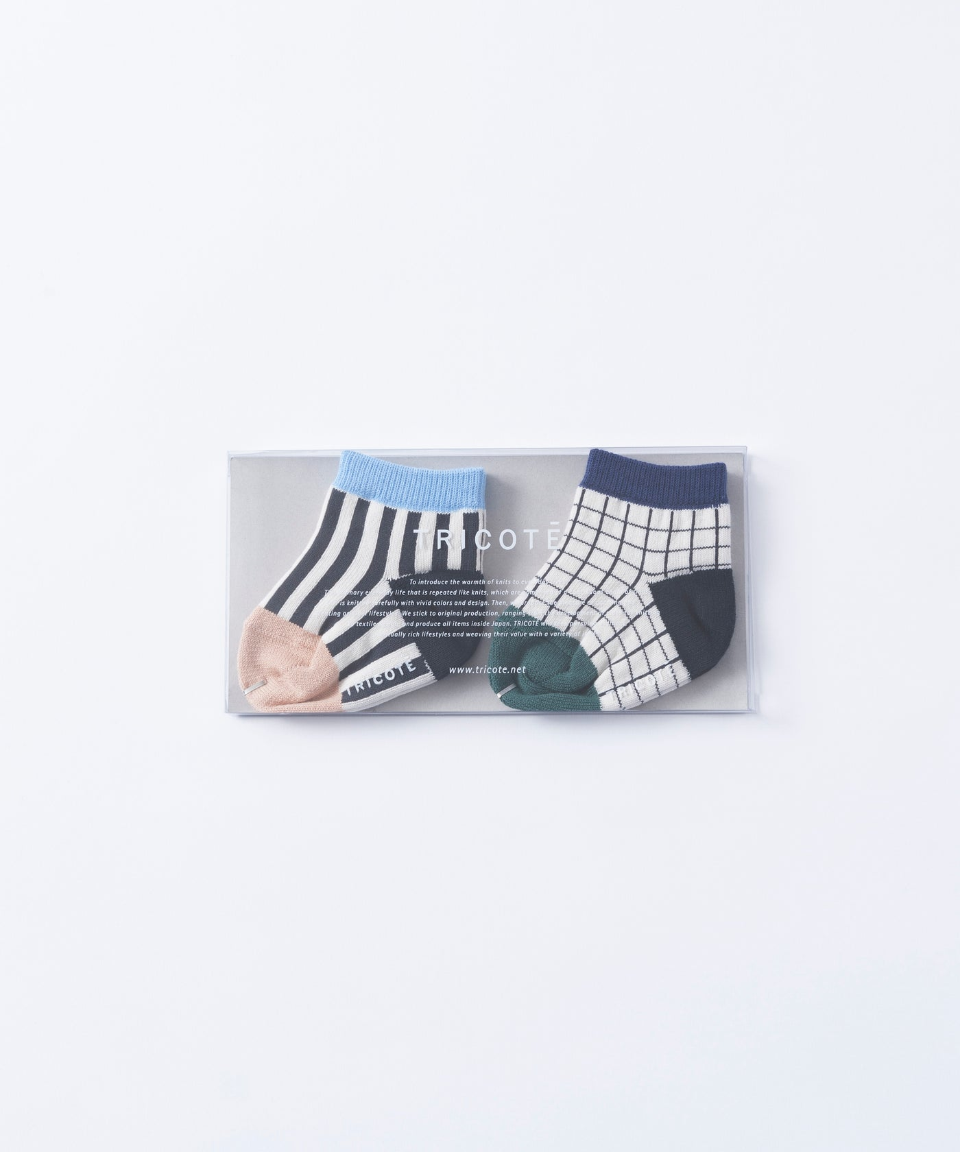 Tricote Baby Checks Stripe Socks Blue - OKURA