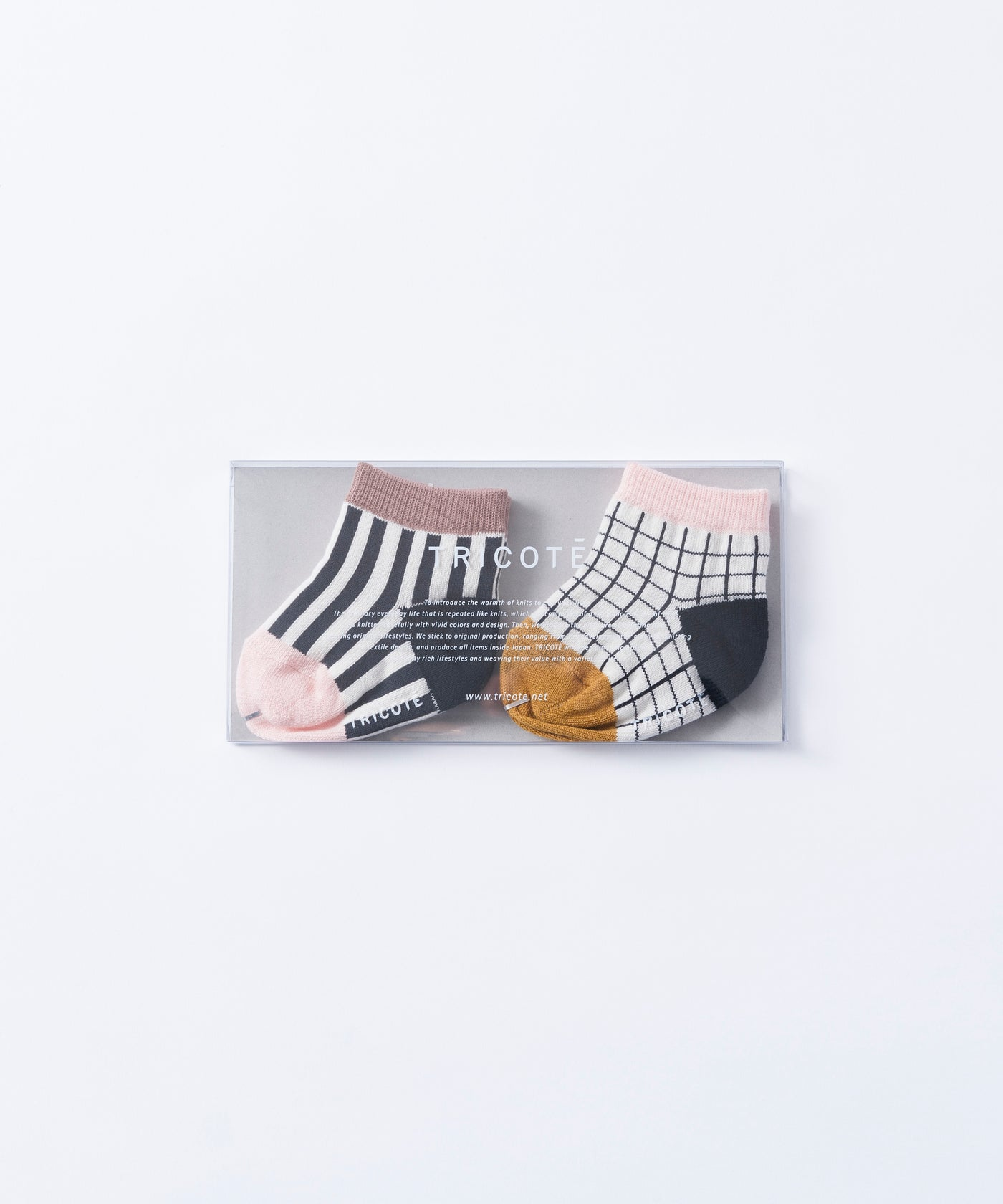 Tricote Baby Checks Stripe Socks Pink - OKURA