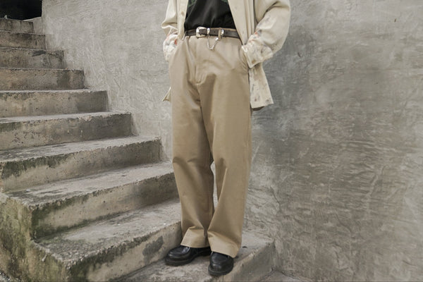 Auralee Washed Finx Chino Wide Pants Beige