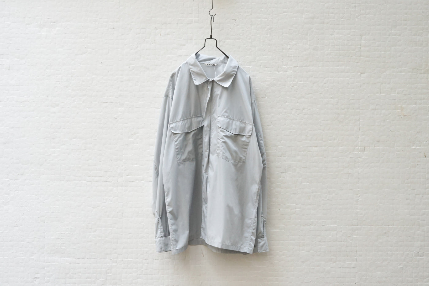 Auralee Light Nylon Zip Shirts Light Blue - OKURA