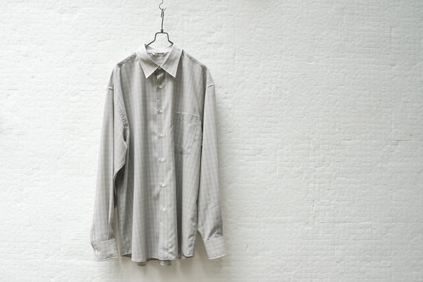 Auralee Super Light Wool Check Shirts Grey - OKURA