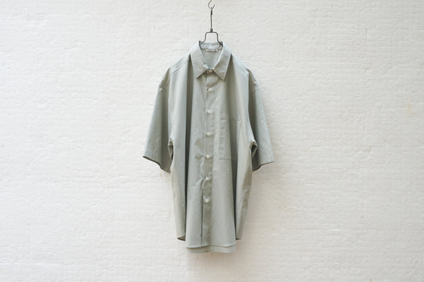 Auralee Washed Finx Twill Half Sleeved Big Shirts Light Green - OKURA