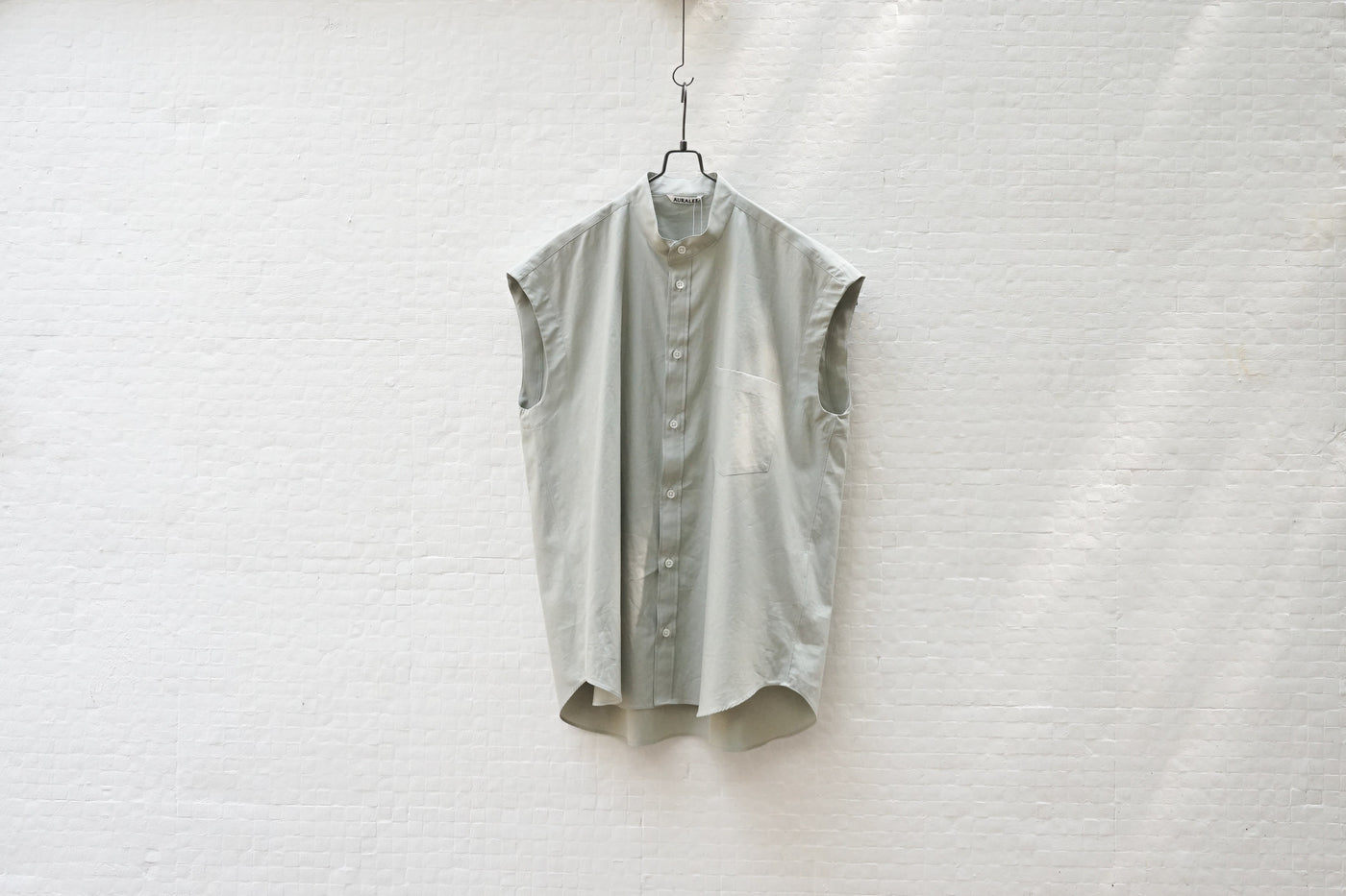 Auralee Washed Finx Twill Sleeveless Shirts Green - OKURA