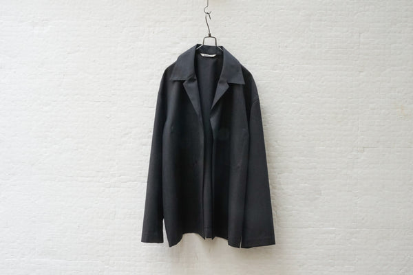 Auralee Wool Silk Tropical Shirts Jacket Black - OKURA