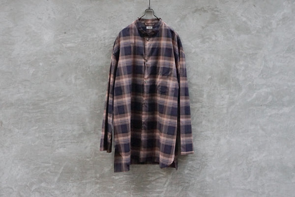Blurhms Stand-Up Collar Shirt L/S Cp Navy - OKURA