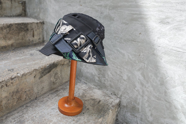 Ca4La Tint Hat - Mix Fabric Trench Bucket Black - OKURA