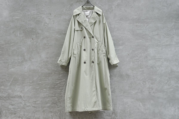 Clane Back Frill Sleeve Trench Coat Light Green - OKURA