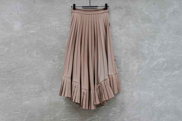 Clane Three Arrange Pleat Skirt Brown - OKURA