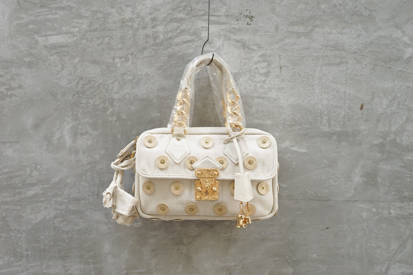 Louis Vuitton SS07 Limited Edition Polka Dots Panama Tinkerbell Handbag Beige Canvas