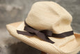 Mature Ha. Paper Braid Hat Foldaway Boxed Hat 11Cm Brim - Grosgrain Ribbon Beige - OKURA