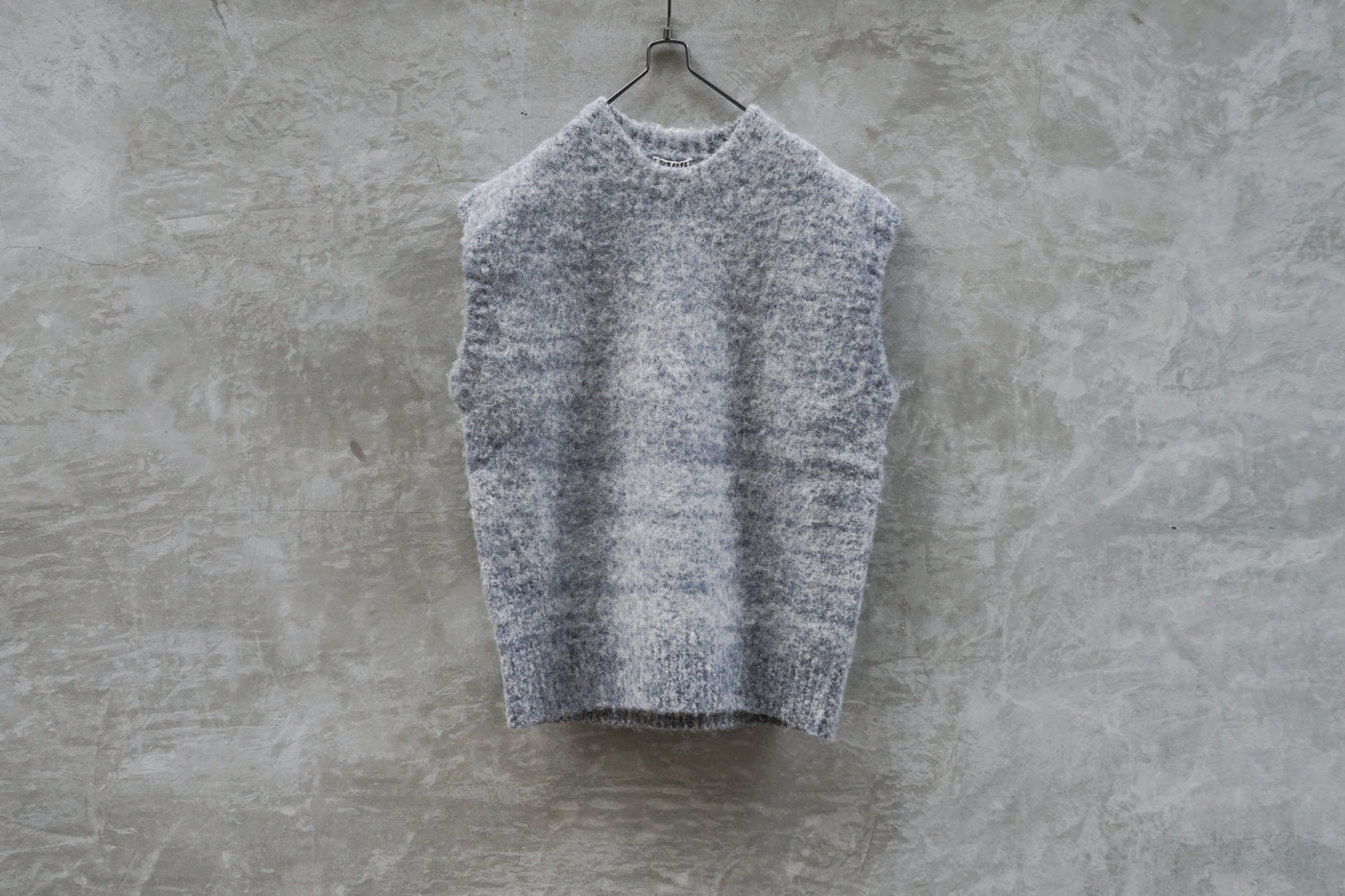 Auralee Wool Alpaca Flet Knit Big Vest Light Blue