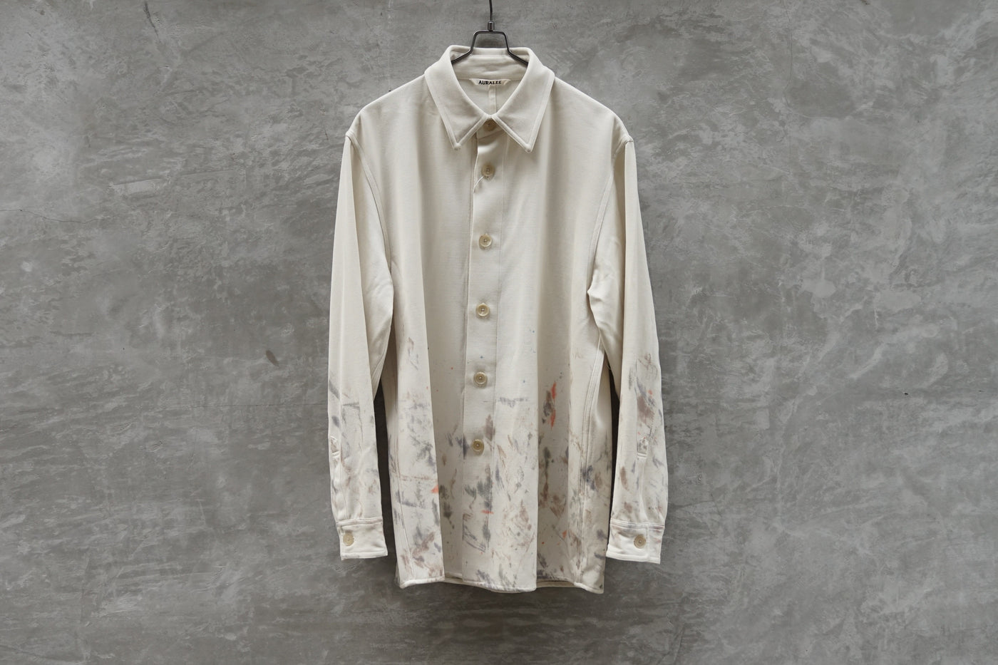 Auralee Wool Max Serge Hand Painted Shirts White