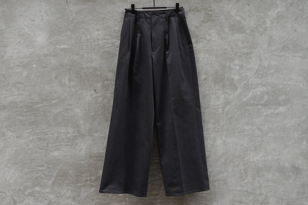 Auralee Washed Finx Chino Wide Tuck Pants Black