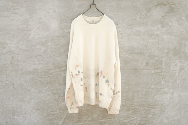 Auralee White Bay Cashmere Hand Painted Knit P/O White