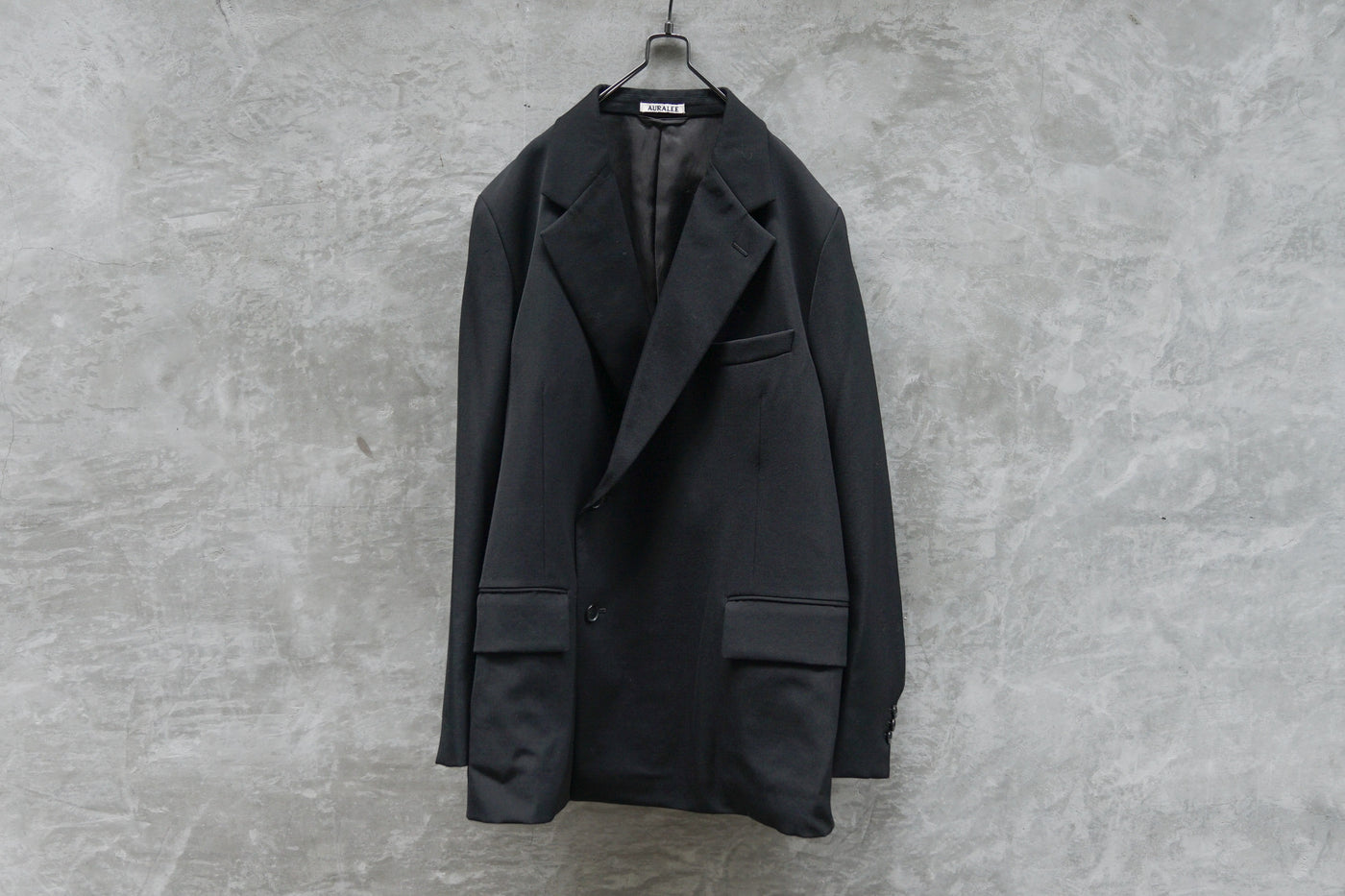 Auralee Wool Max Gabardine Double Beasted Jacket Black
