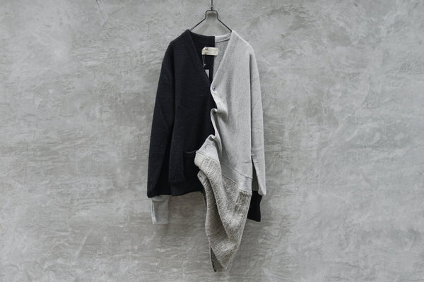 77 Circa Circa Make Asymmetry Length Knit Cardigan  Grey