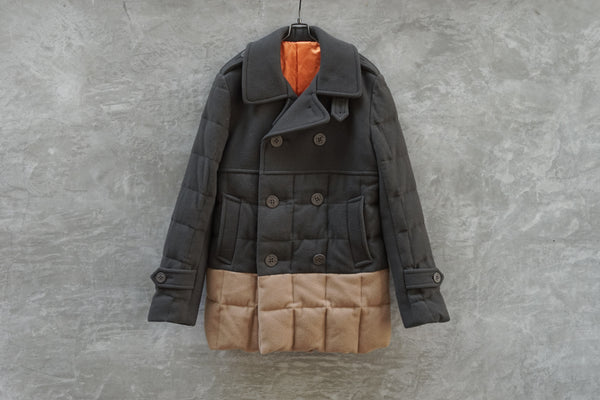 Ganryu Comme Des Garcons Wool Switching Quilting Down Pea Coat AD2011