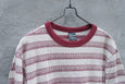 NUMBER (N)INE Red x Beige Crewneck Cotton Border T shirt - OKURA