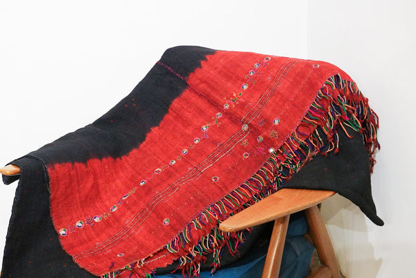 Leh Vintage Antique Blanket 244X113Cm Red Tiedye Red
