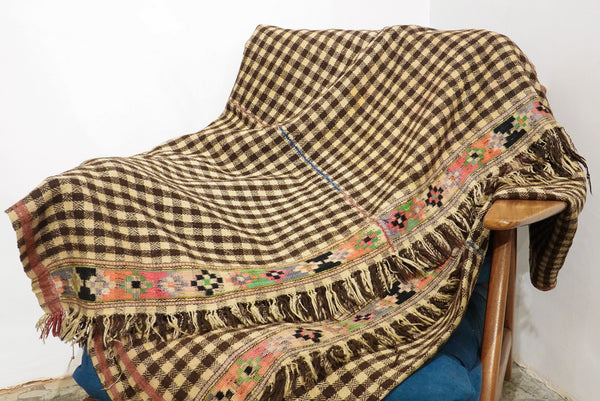 Leh Vintage Antique Blanket 350 X 114Cm Checker (Kuru / Antique) Brown
