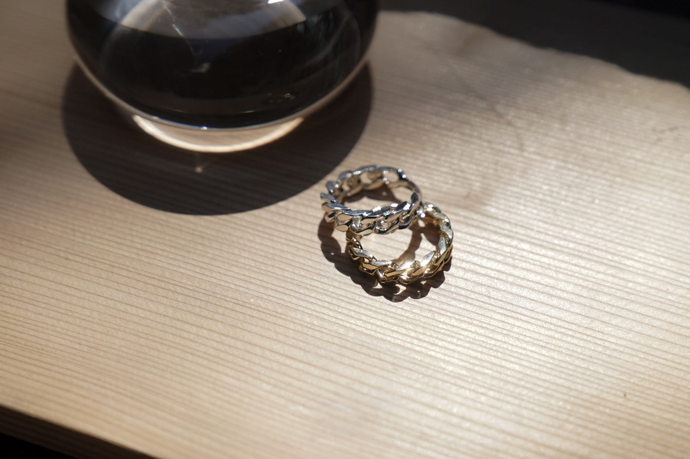 E.M. DUE Chain Ring Gold