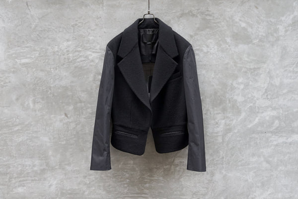 Alexander Wang Patched Sleeves Cut-Out Back Wool Blazer Black