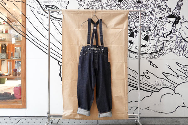 Clamp Canton Crown Pants with Suspenders Indigo