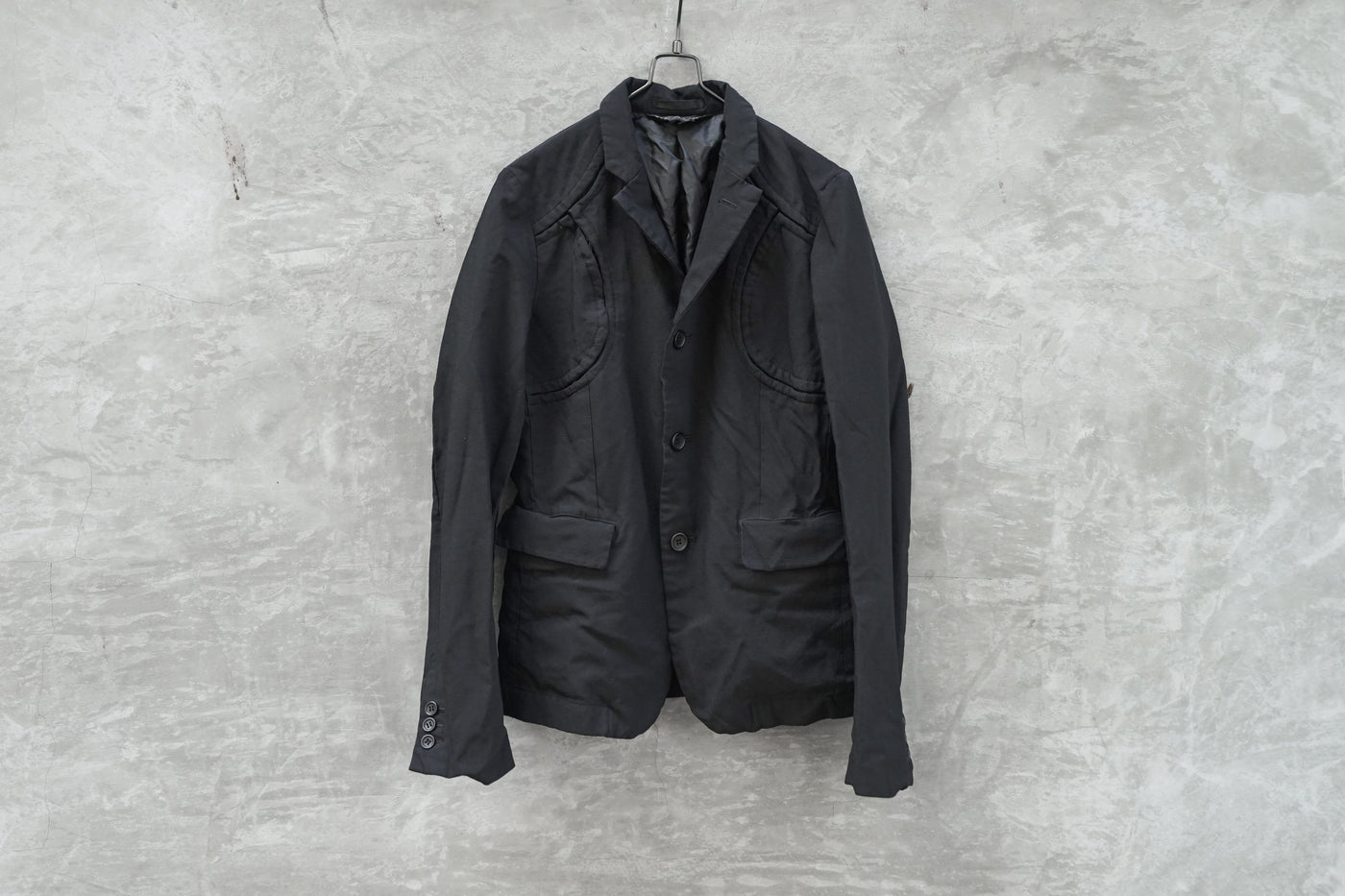 BLACK Comme Des Garcons Black Cut Line and Patchwork Details Jacket AD2015 - OKURA