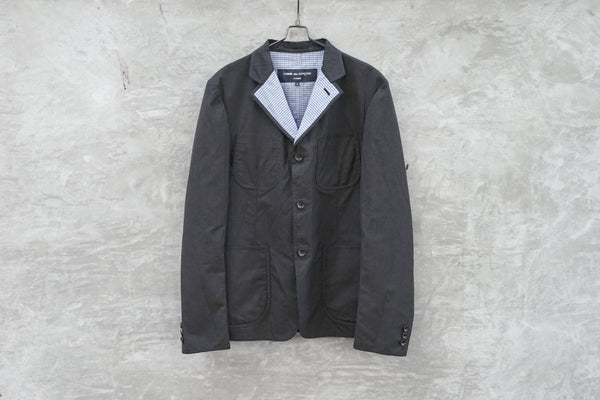 Comme Des Garcons Homme Charcoal Grey Reversible Piping Jacket AD2008 - OKURA