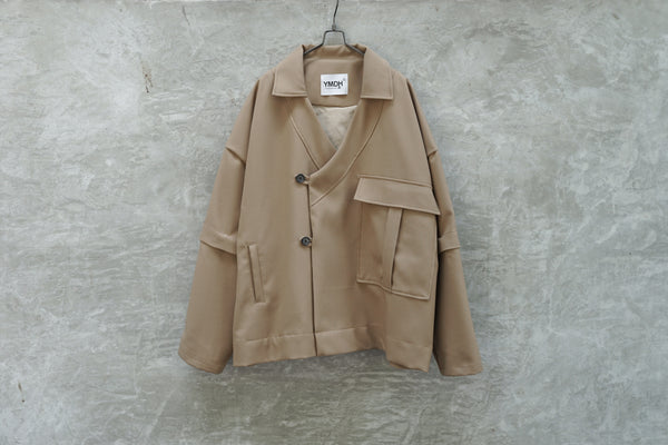 YMDH Detachable Sleeves Detail Wide Oriental Cut Blazer Jacket Beige - OKURA