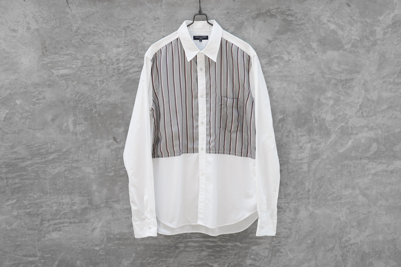 Comme Des Garcons Homme Stripe Patchwork Long Sleeves Shirt AD2009 - OKURA