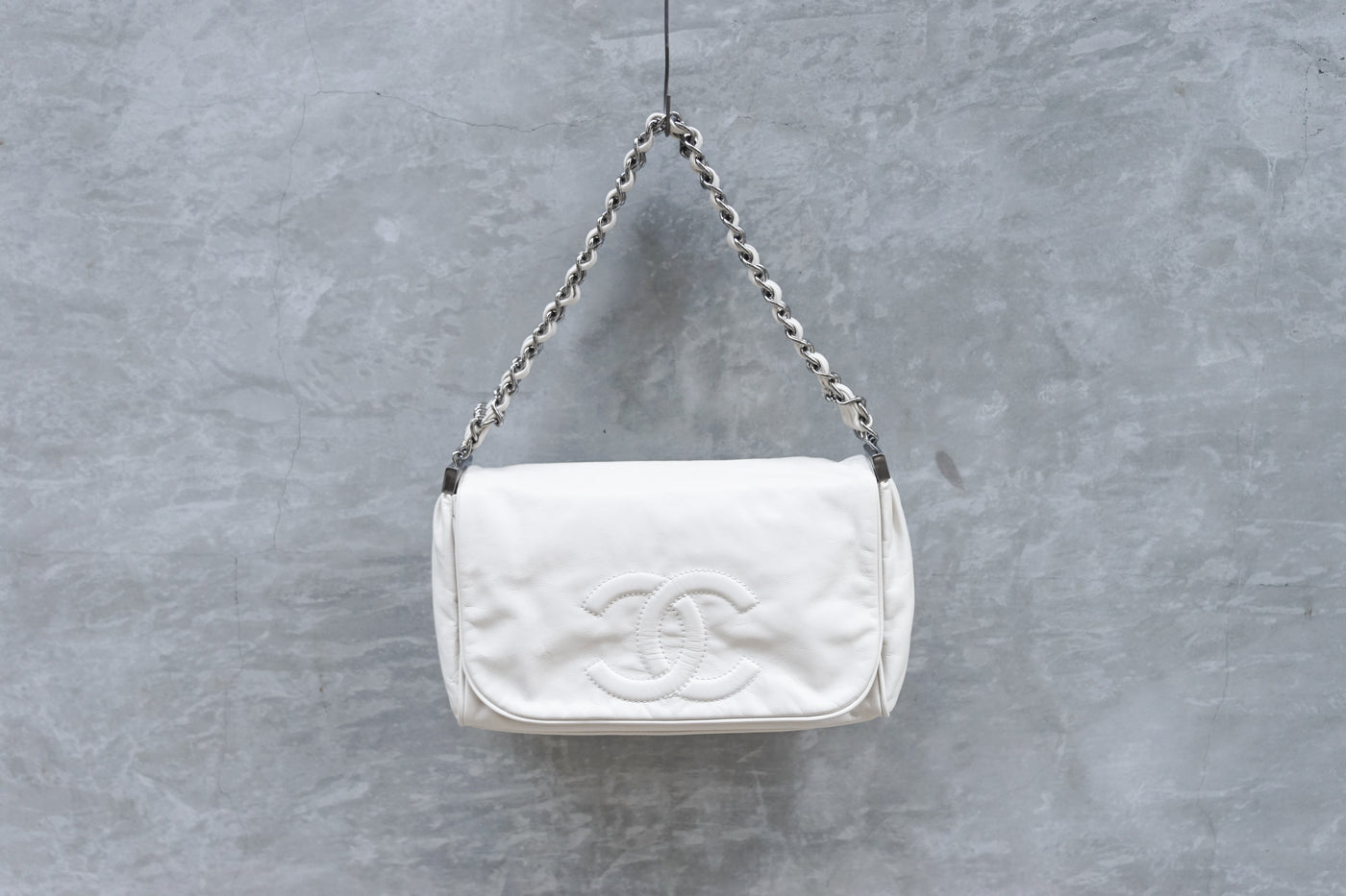 Chanel Triple Chain Flap Handbag Ivory - OKURA