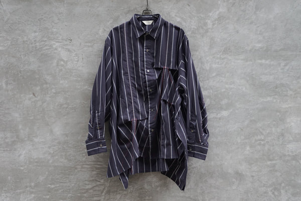 Jieda Hand Stitch Stripe Shirt Navy