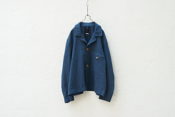 Easy To Wear Short Jacket - Linen Canvas Blue - OKURA