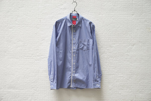 Beautilities Utility Zip Shirt Blue Stripe