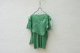 Todo Kotohayokozawa Regular Pleats Tops Short Sleeve No Collar Green - OKURA