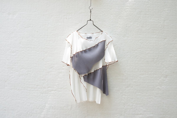Todo Kotohayokozawa Regular Pleats Tops Short Sleeve No Collar White - OKURA