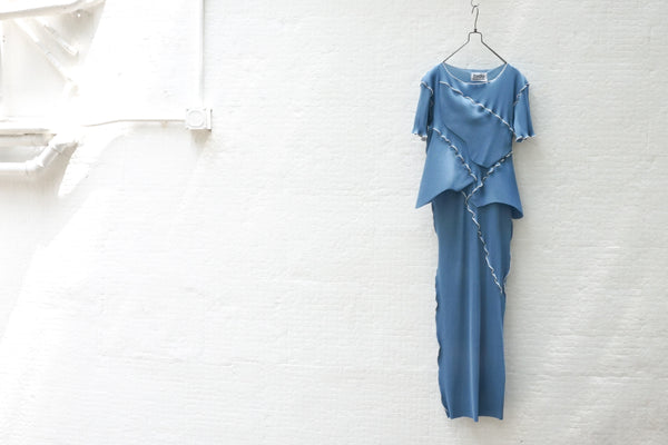 Todo Kotohayokozawa Regular Pleats Dress Short Sleeve No Collar Blue - OKURA