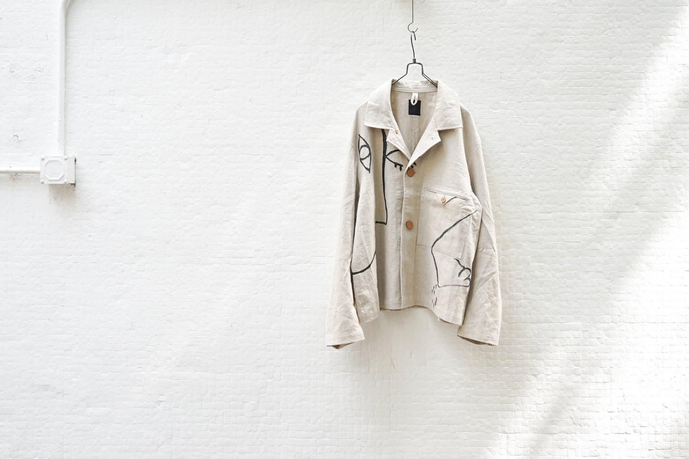 Easy To Wear Short Jacket - Linen Canvas (Drawing) Off White - OKURA