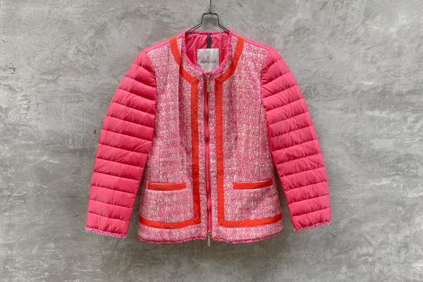 Moncler Prune Tweed-Front Puffer Jacket Pink