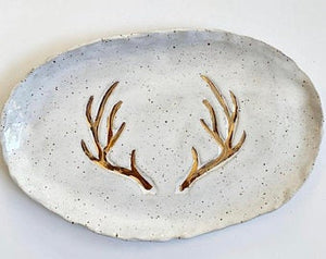 Stoneware Tray - Ivory with Gold Antler
