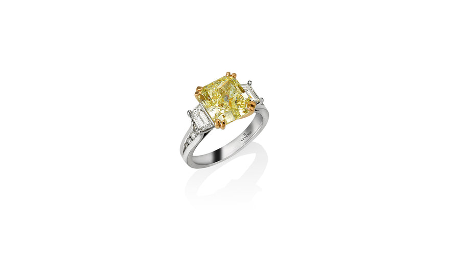 Yellow Radiant Cut Diamond Flanked by Trapeze Cuts