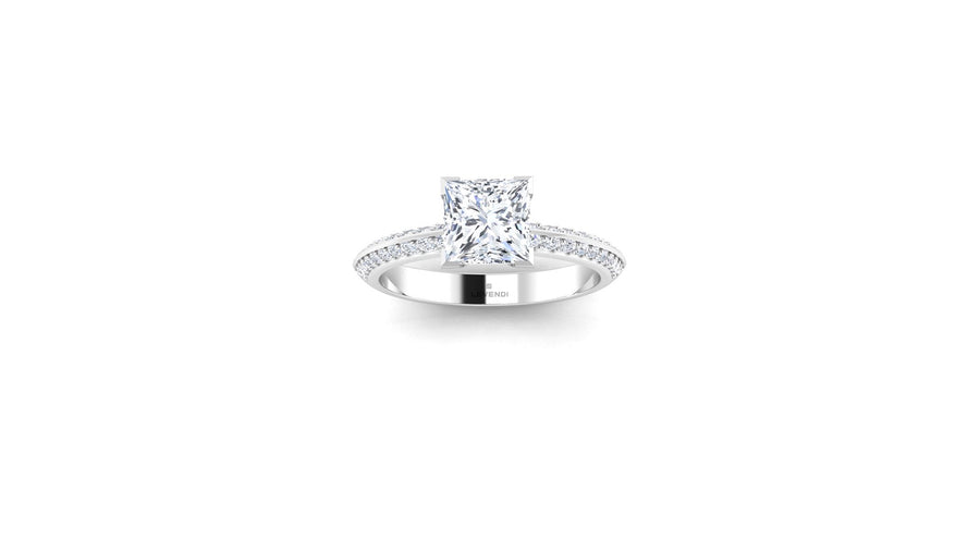 CLASIC LEVENDI - 4 CLAW PRINCESS CUT DOUBLE ROW DIAMOND BAND