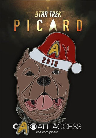 "Picard's ""Number One"" Dog with 2019 Holiday Hat Collectible Pin (Star Trek: Picard)"