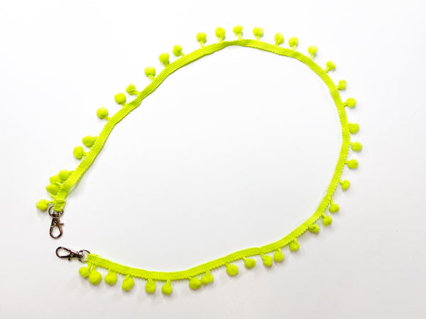 Mask Lanyard - Pom Pom Design - Lime Green