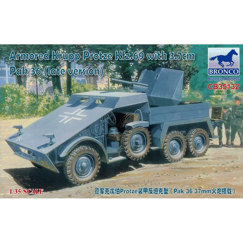 BRONCO 1/35 Armored Krupp Protze Kfz.69 with 3.7cm Pak 36 (Late Version) - La bourse des jouets