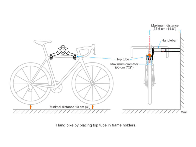 Adjustable Bicycle Wall Hanger basic specifications image