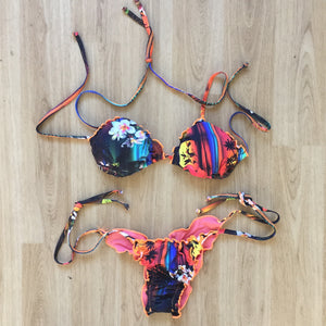 Rainbow sunset string bikini