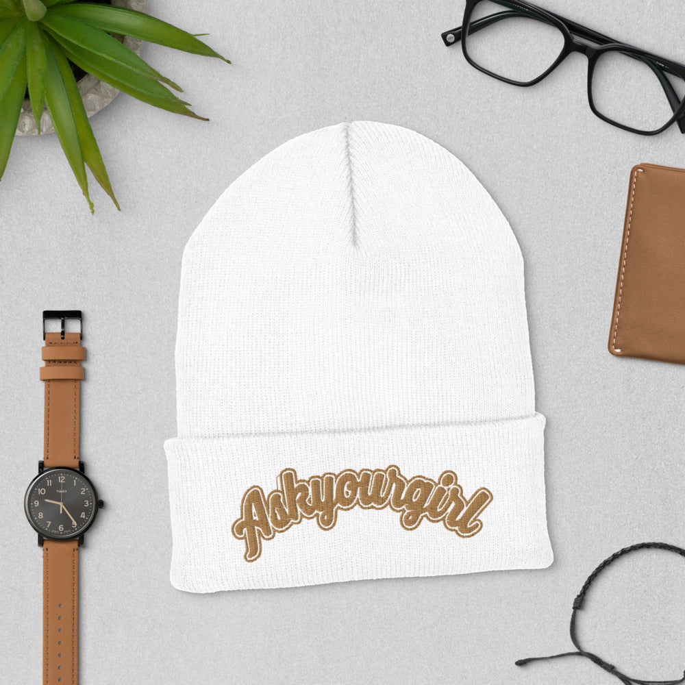 Askyourgirl Gold Cuffed Beanie